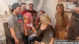 Tampa bukkake girls Blonde big tits cheating Alabama cracker house wife interracial gangbang fucked in all holes by group of dirty south Florida bukkake boys ft. Mell
