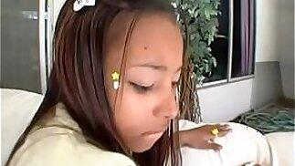 Ebony teen persuaded to be naughty
