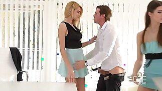 Two secretaries take HUGE Boss cock in the Ass